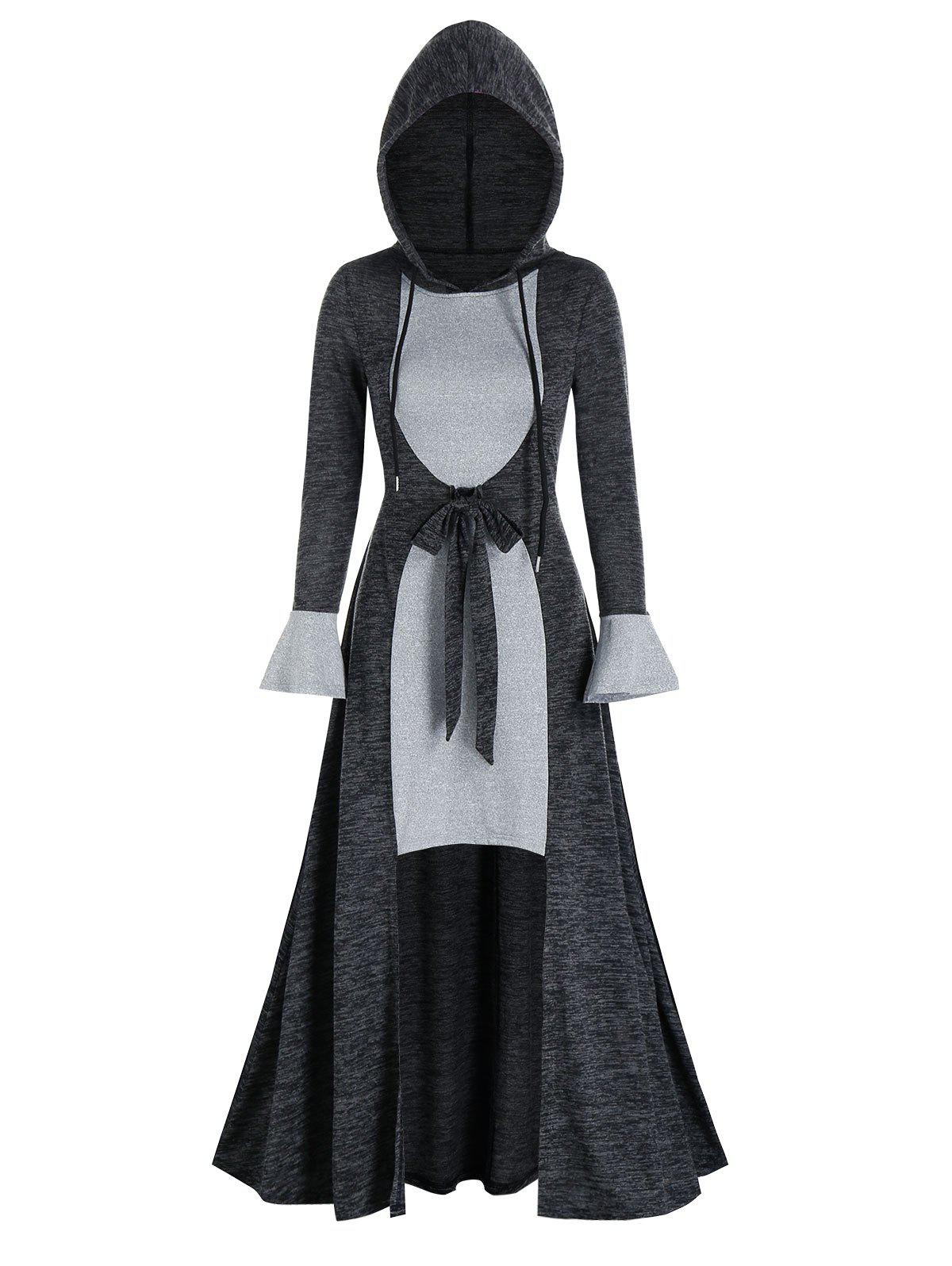 Two Tone Bowknot Hooded Long High Low Dress - DARK SLATE GREY 3XL