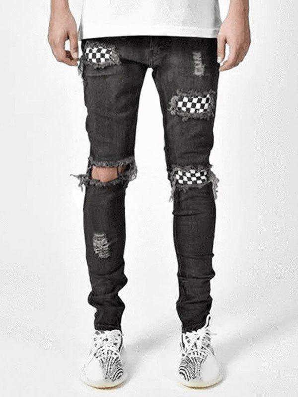 Destroy Wash Checkerboard Print Patchwork Long Jeans - BLACK 36