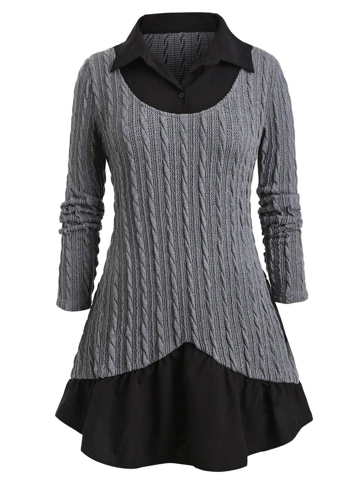 Plus Size Cable Knit Twofer Sweater - GRAY 5X