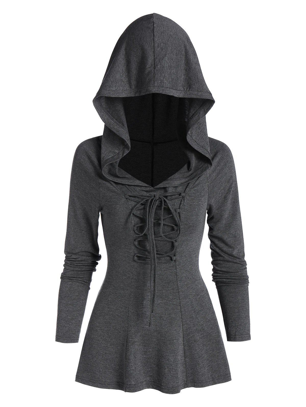 Lace-up Back Slit Heathered Hoodie - ASH GRAY M