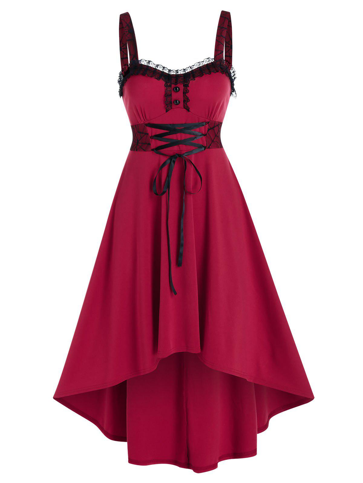 Sleeveless Lace Panel Lace-up High Low Midi Dress - RED 2XL