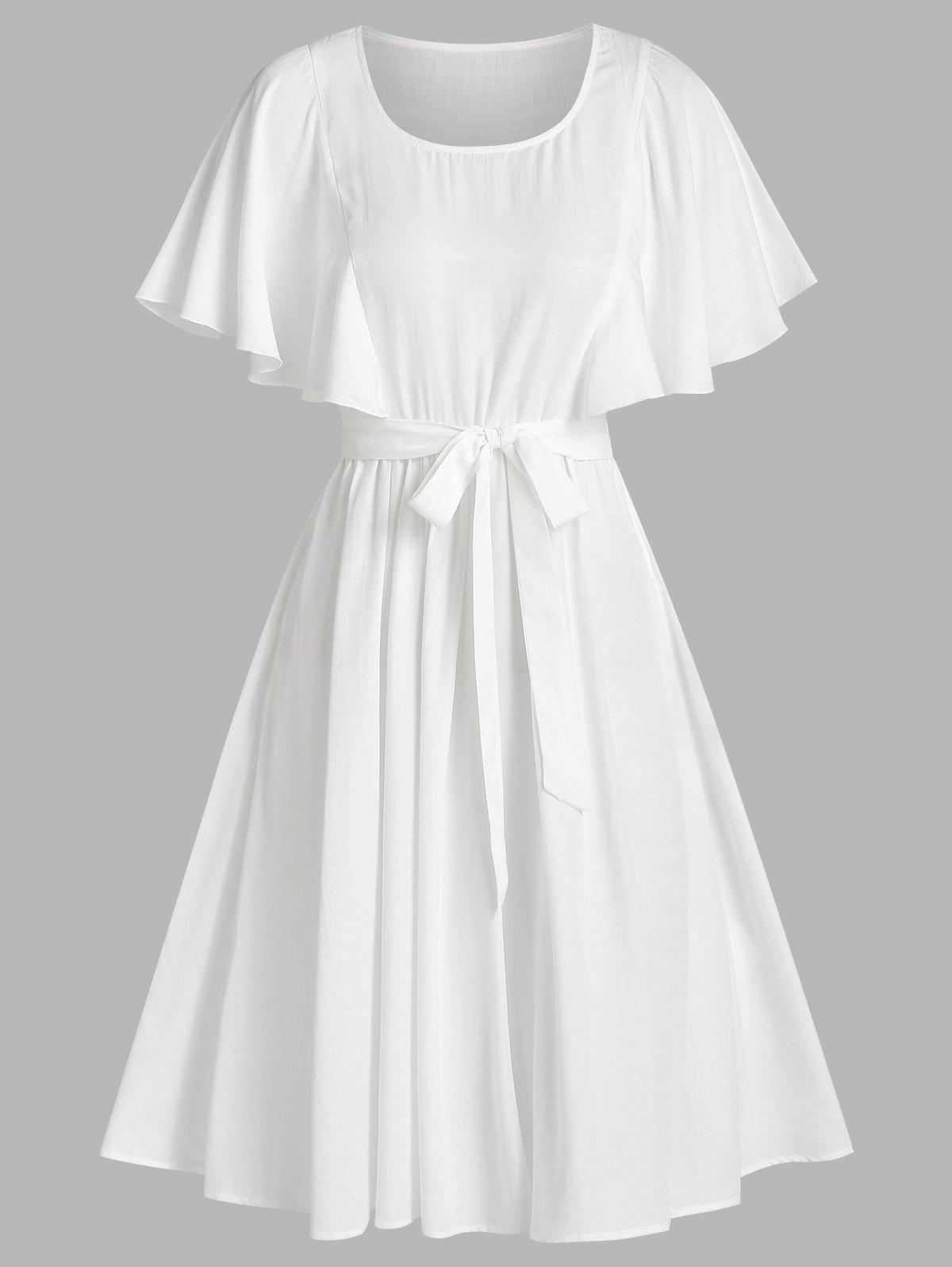 Flutter Sleeve Belted Casual Dress - WHITE M