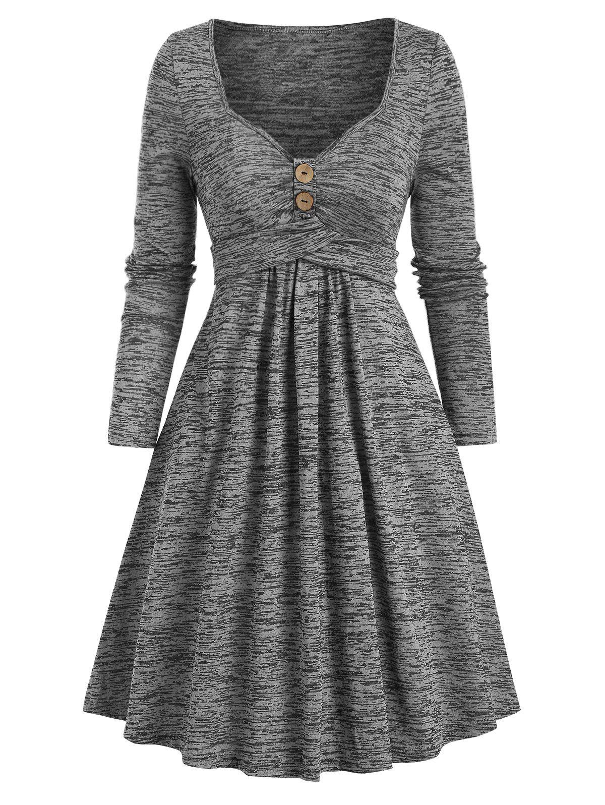 Space Dye Sweetheart Neck Crisscross Mini Dress - LIGHT GRAY L