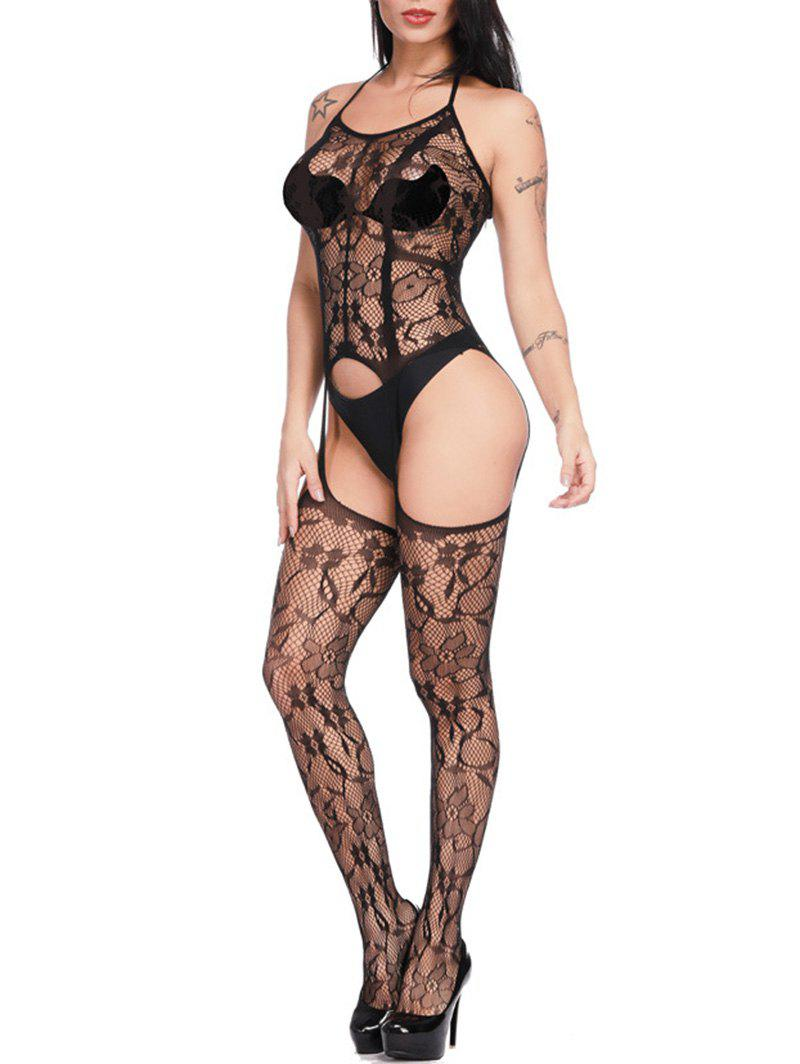Floral Pattern Hollow Out Sexy Fishnet Stockings Teddy - BLACK