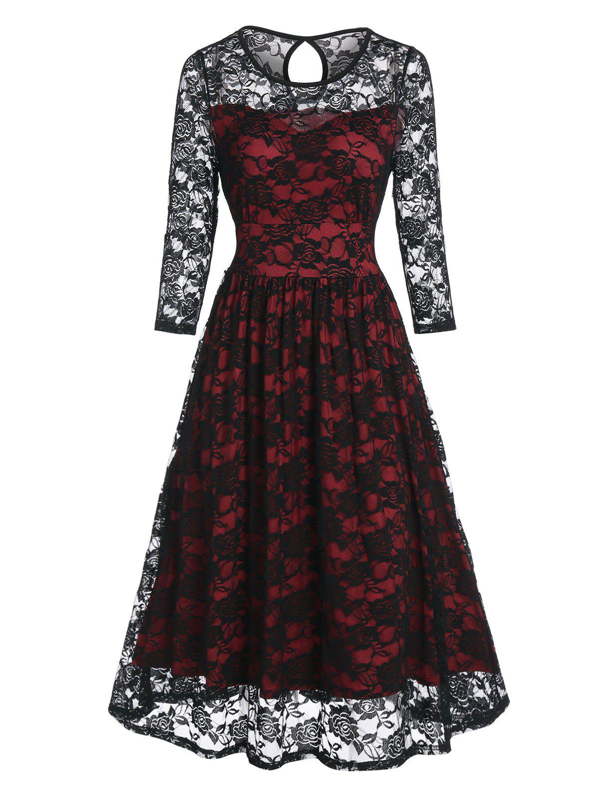 Flower Pattern Lace Prom Dress - multicolor A 3XL