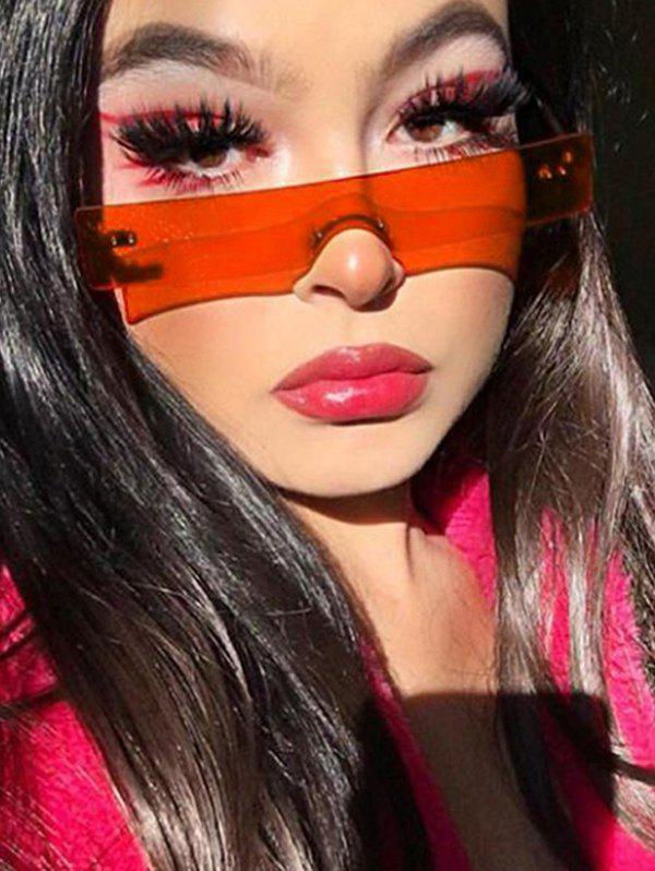 One-piece Rectangle Rimless Sunglasses - RED