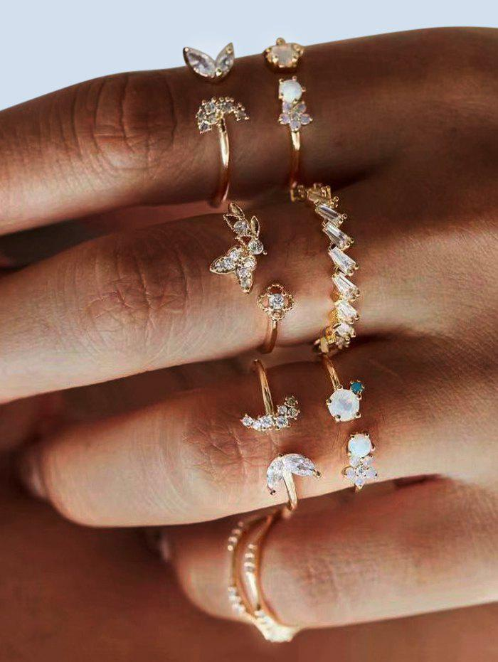 7Pcs Floral Butterfly Rhinestone Ring Set - GOLDEN