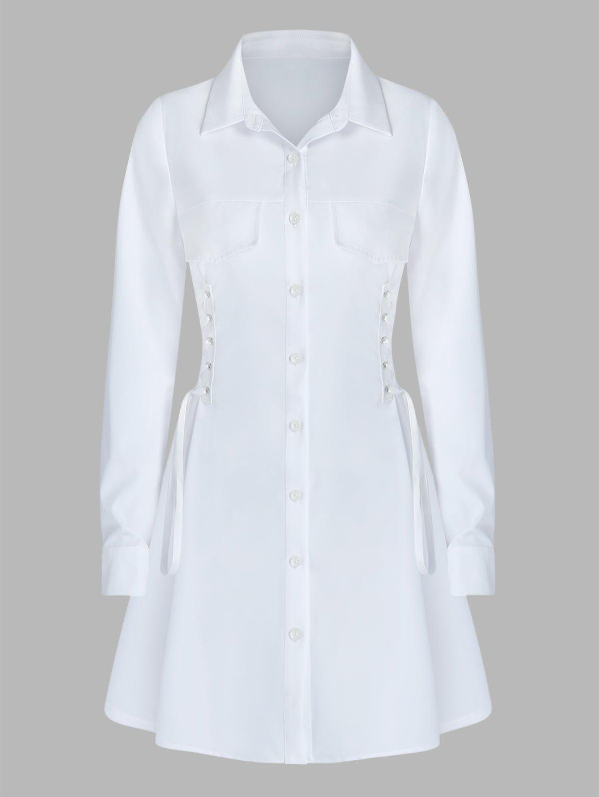 Long Sleeve Side Lace-up Shirt Dress - WHITE 2XL
