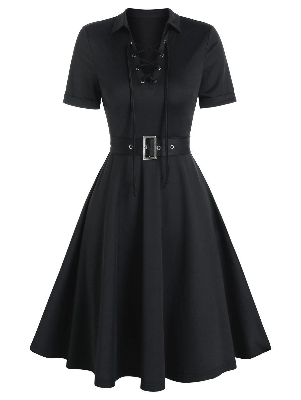 Lace-up Front Belted Flare Dress - BLACK 3XL