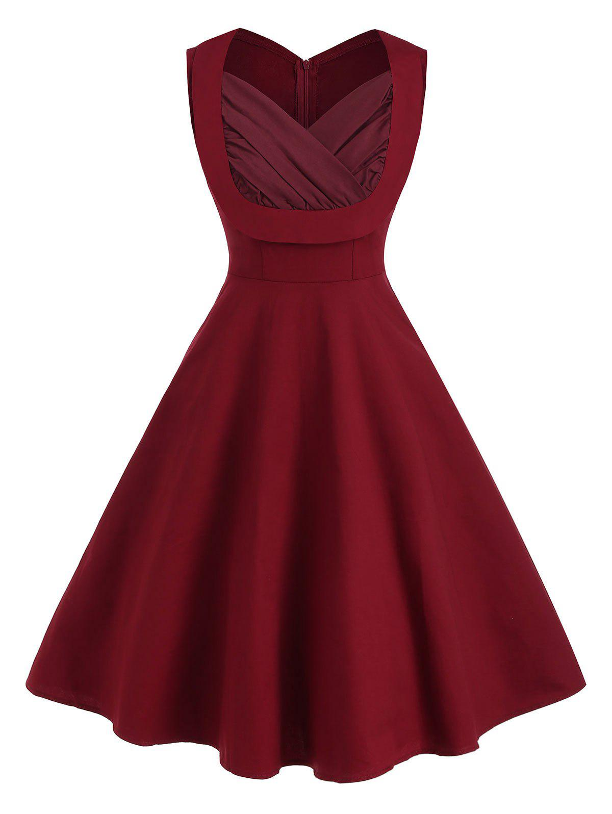 Sweetheart Neck Ruched Sleeveless Vintage Dress - DEEP RED 2XL