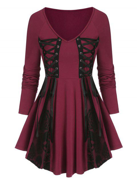 Lace Up Lace Insert Gothic Skirted T Shirt