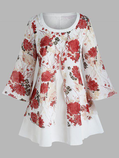 Plus Size Flower Printed Button Layers Blouse