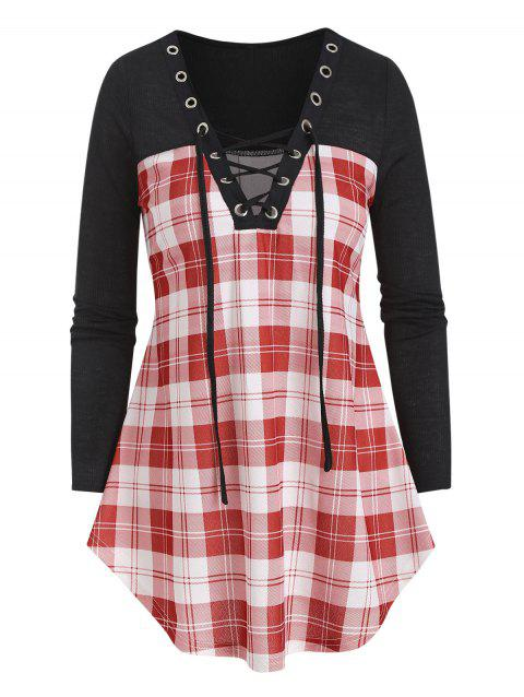 Deep V Neck Lace Up Checked Patch T Shirt