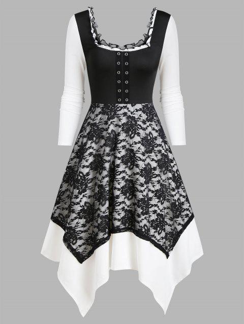 Square Collar Grommet Layered Asymmetrical Lace Dress