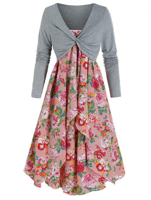 Flower Print Cami Dress and Twist Front Cropped T-shirt