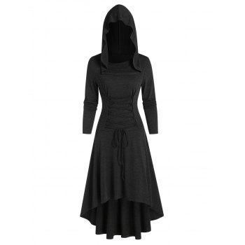 Hooded Lace-up High Low Casual Dress