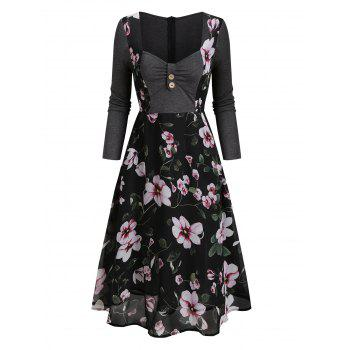 Floral Print Button High Waist Overlay Mesh Dress