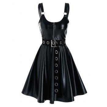 Sleeveless Grommet Belted Faux Leather Dress - BLACK M