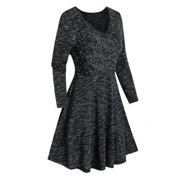Space Dye Print Lace-up Crossover Dress