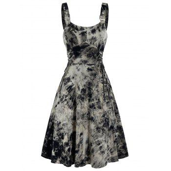 Sleeveless Tie Dye Print Lace-up Buckle Strap Dress
