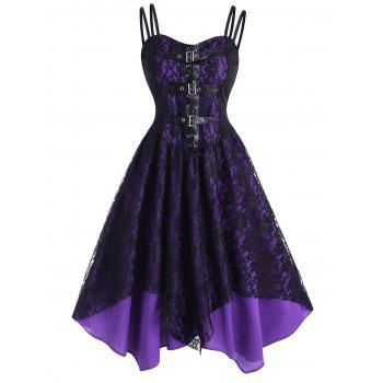 Lace Overlay Lace-Up Buckle Handkerchief Dress