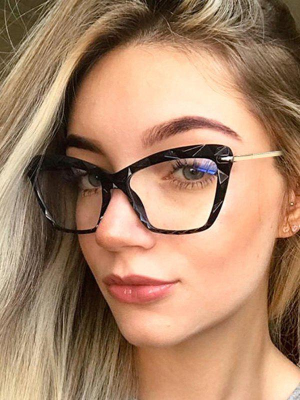 Retro Kitty Eye Textured Glasses - BLACK