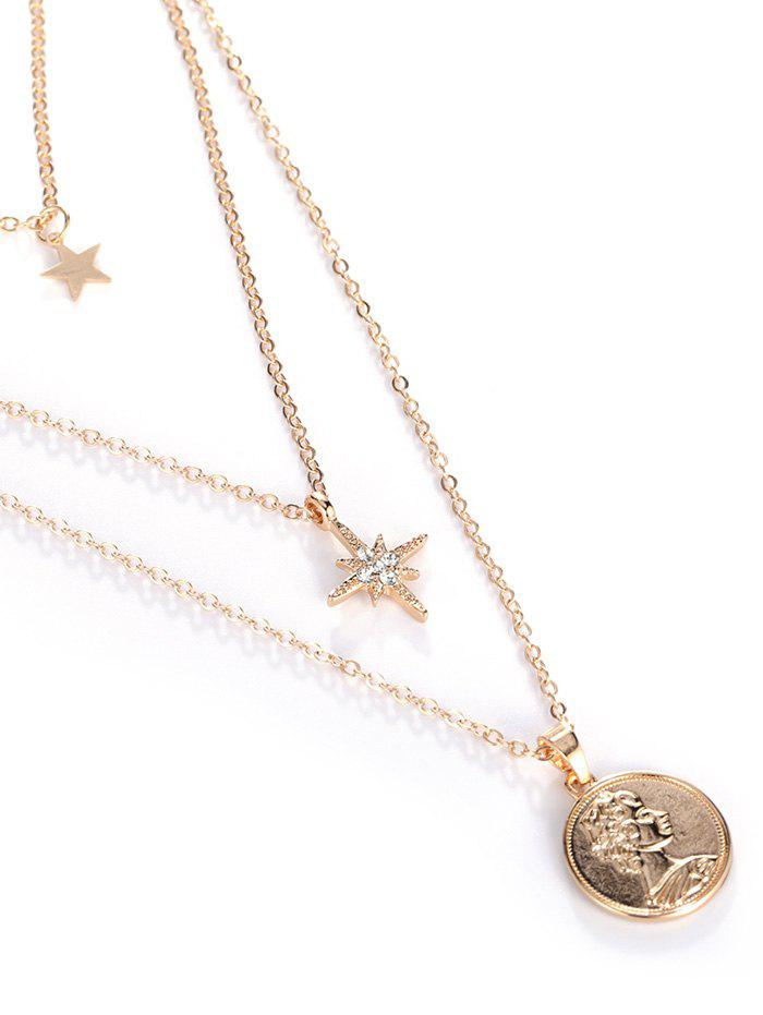 18K Gold Plated Portrait Star Pendant Layered Necklace - GOLDEN