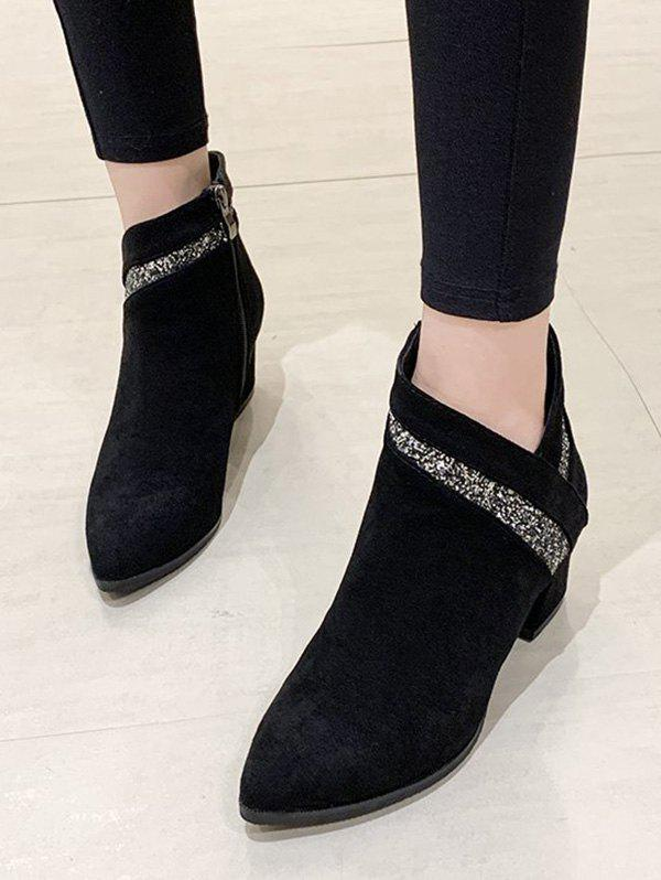 Pointed Toe Glitter Embellished Ankle Boots - BLACK EU 39