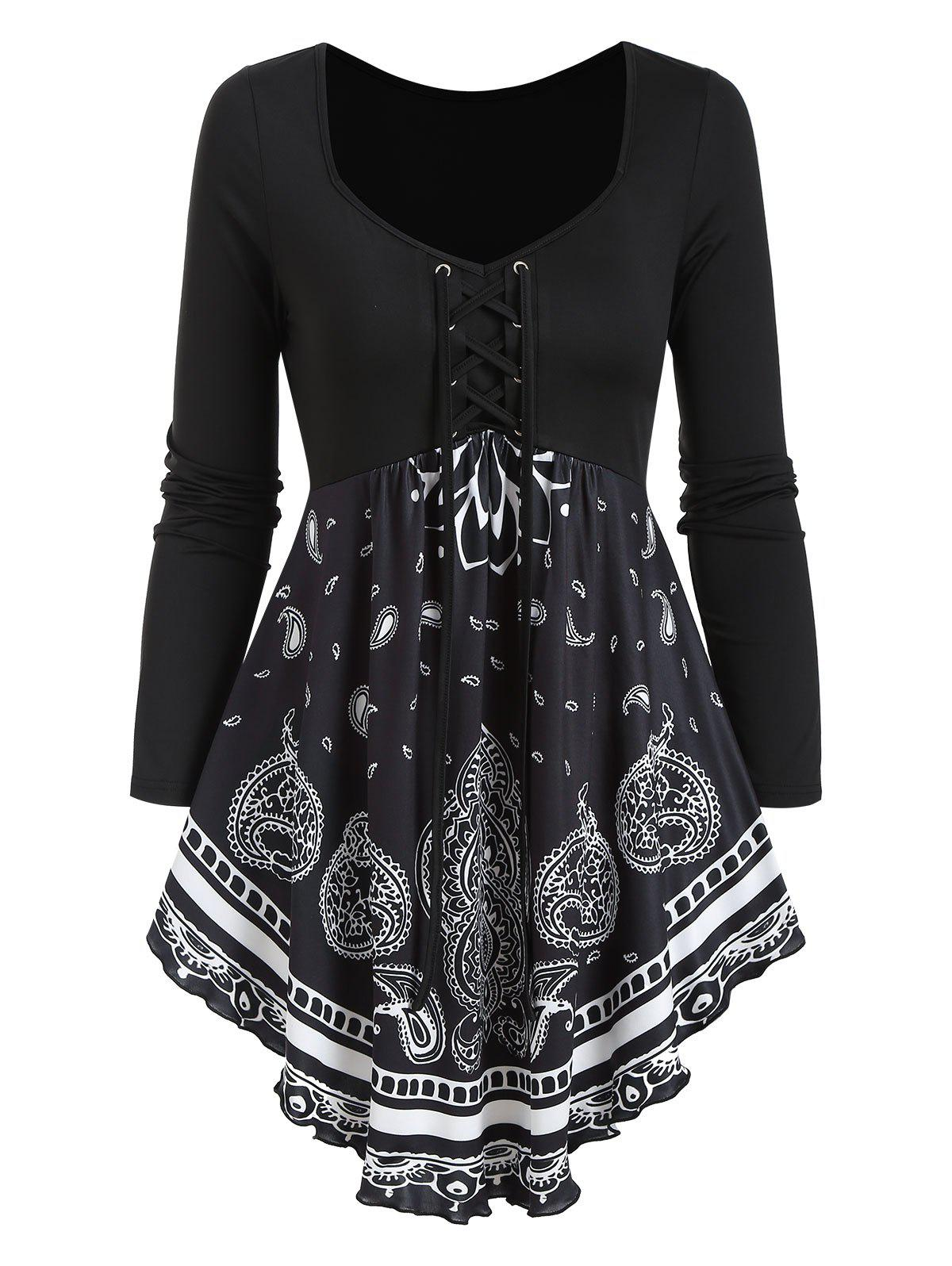 Paisley Print Lace Up Skirted T Shirt - BLACK 3XL