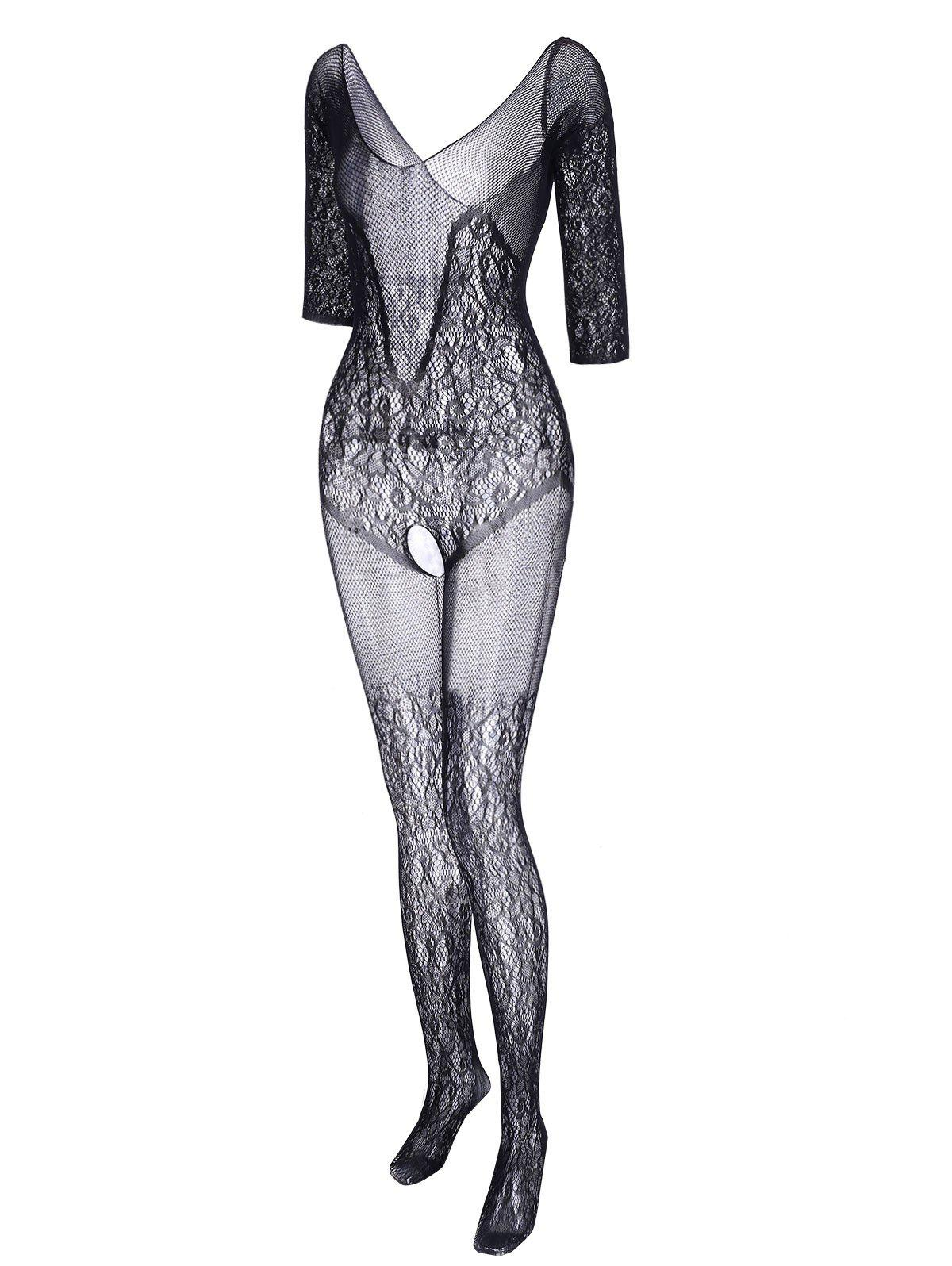 Plus Size See Thru Lace Fishnet Bodystockings - BLACK ONE SIZE