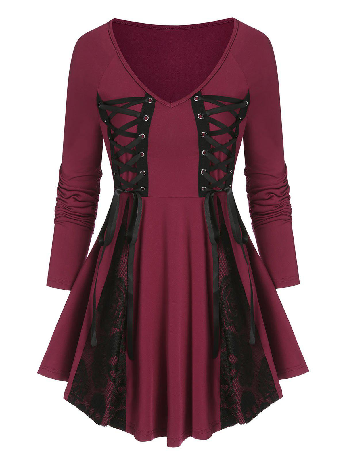 Lace Up Lace Insert Gothic Skirted T Shirt - RED WINE L