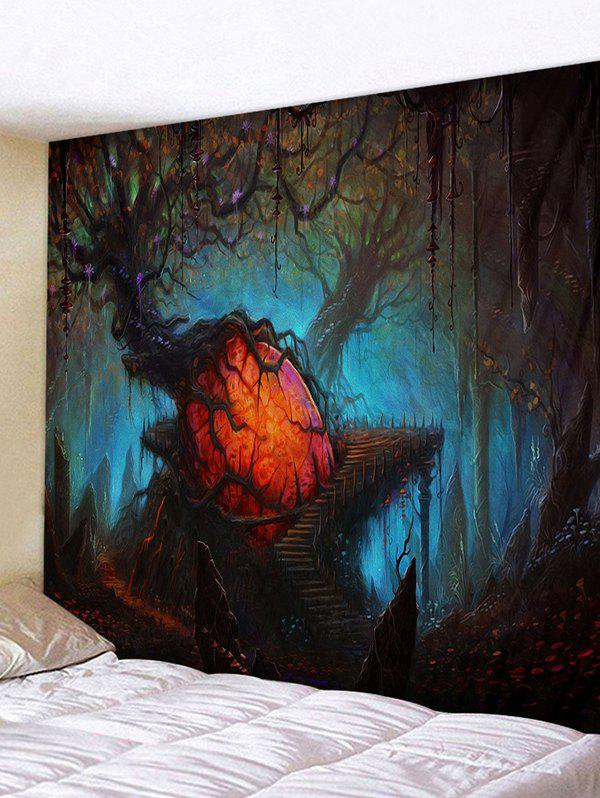 Halloween Withered Trees Printing Wall Tapestry - DARK SLATE BLUE W91 X L71 INCH