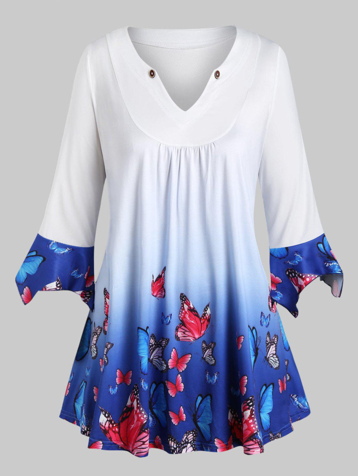 Plus Size Ombre Color Butterfly Print Poet Sleeve Tee - BLUE 2X