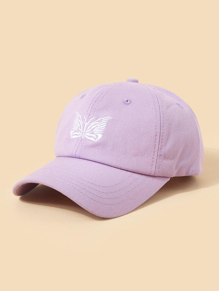 Embroidery Butterfly Adjustable Baseball Cap - PURPLE
