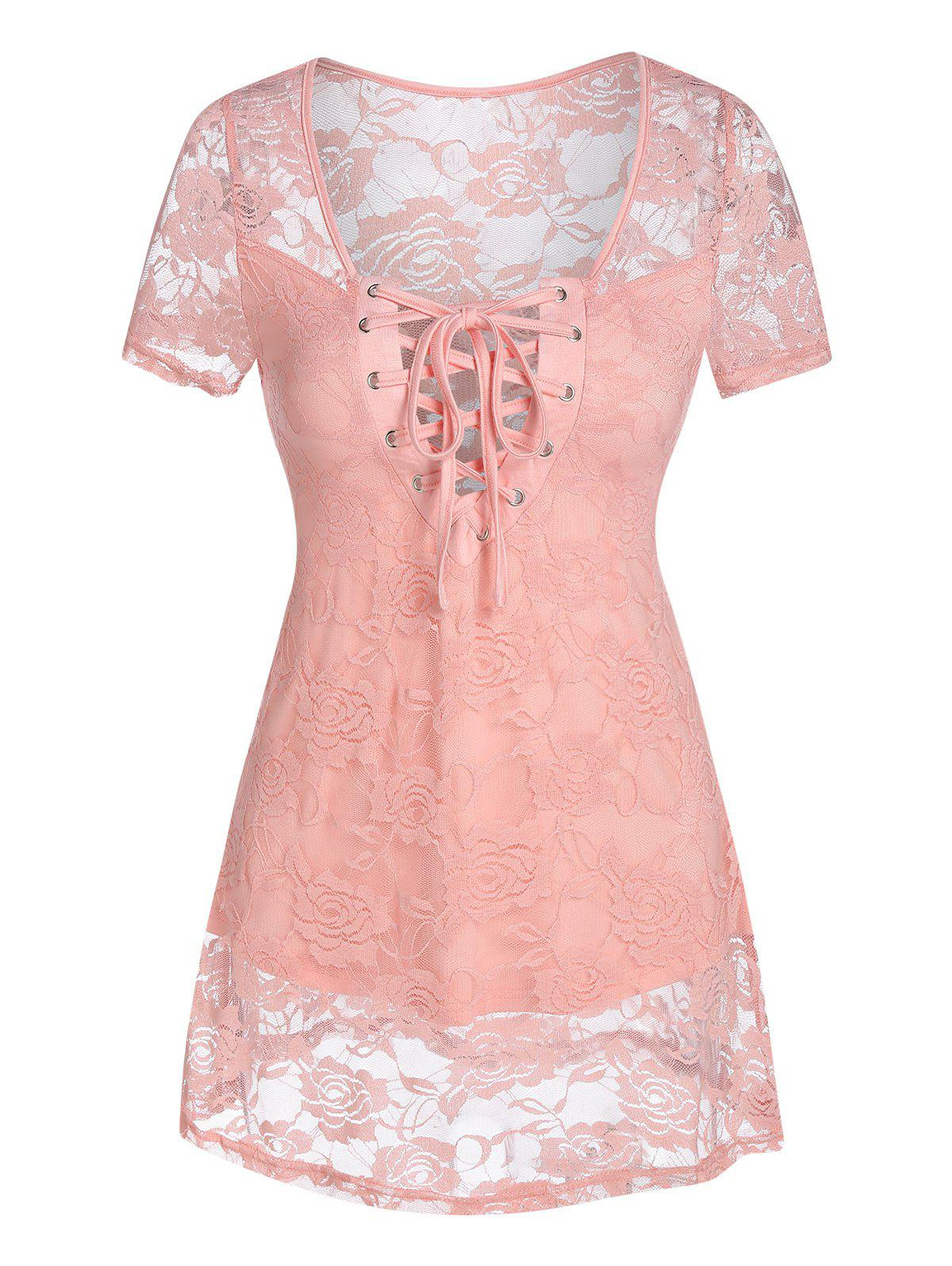 Curved Hem Lace-up Flower Lace Top - PIG PINK S
