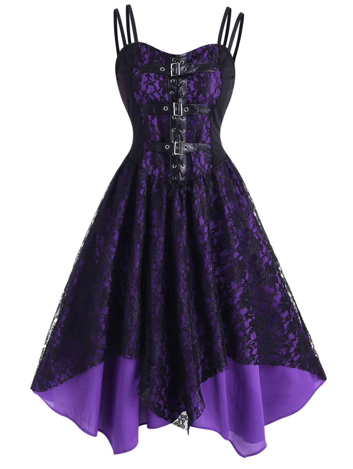 Lace Overlay Lace-Up Buckle Handkerchief Dress - PURPLE S