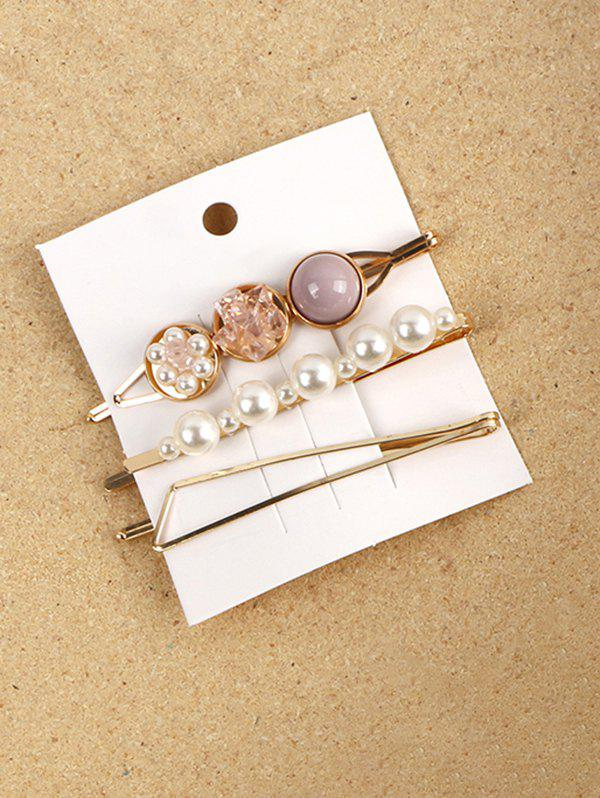 3 Piece Faux Pearl Geometric Hairpins Set - LIGHT PURPLE