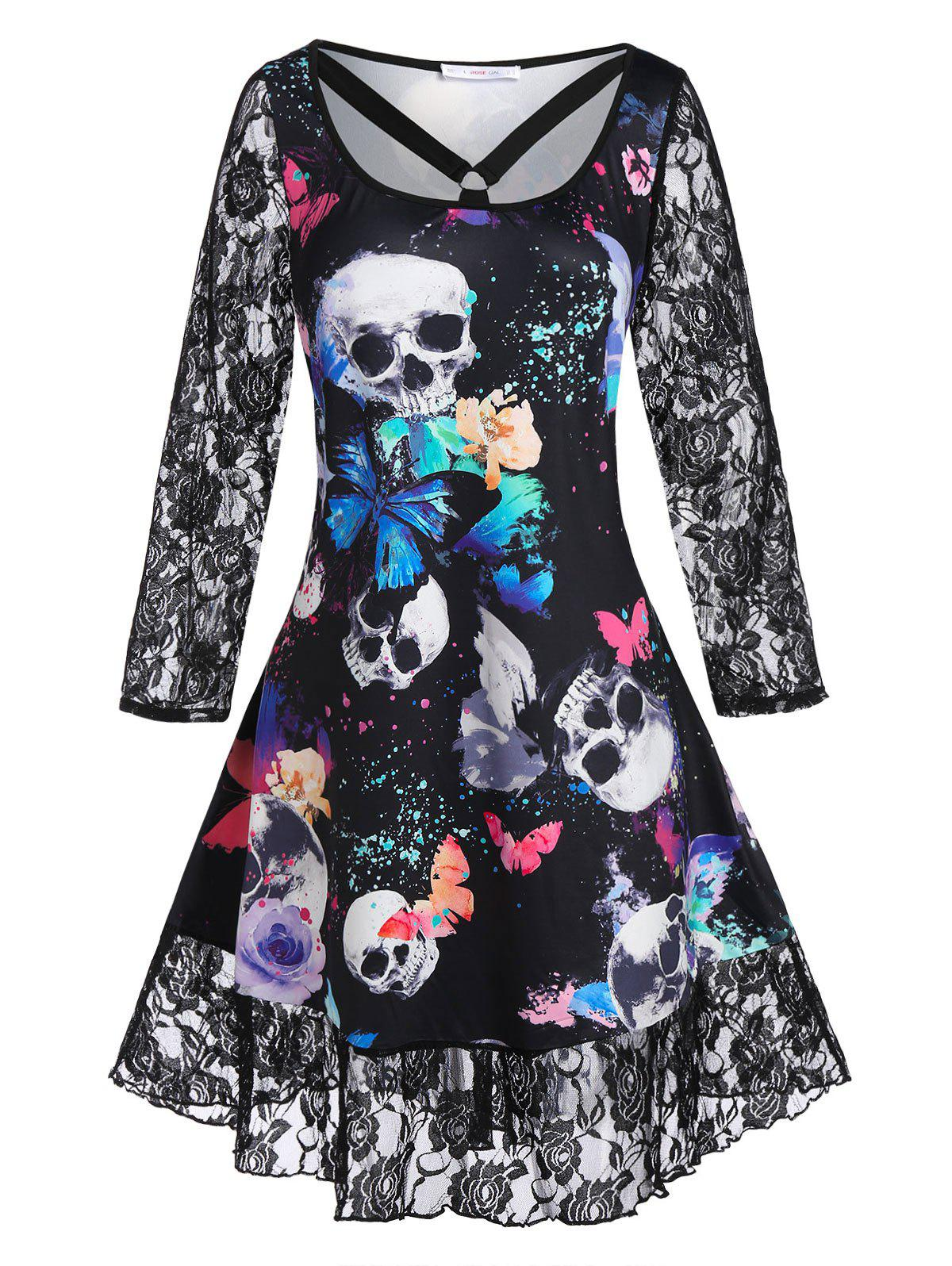 Plus Size Skull Butterfly Printed Lace Panel Dress - BLACK 2X