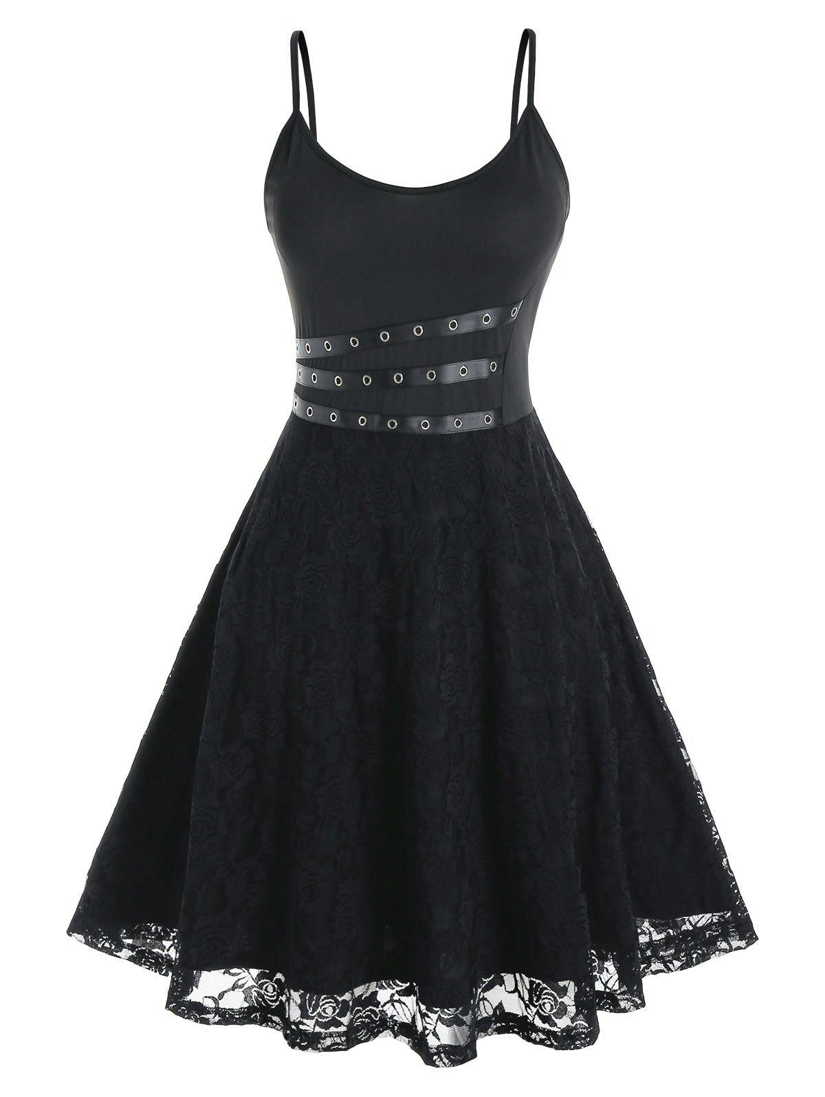 Plus Size Lace Grommet Eyelet Cami Dress - BLACK 4X