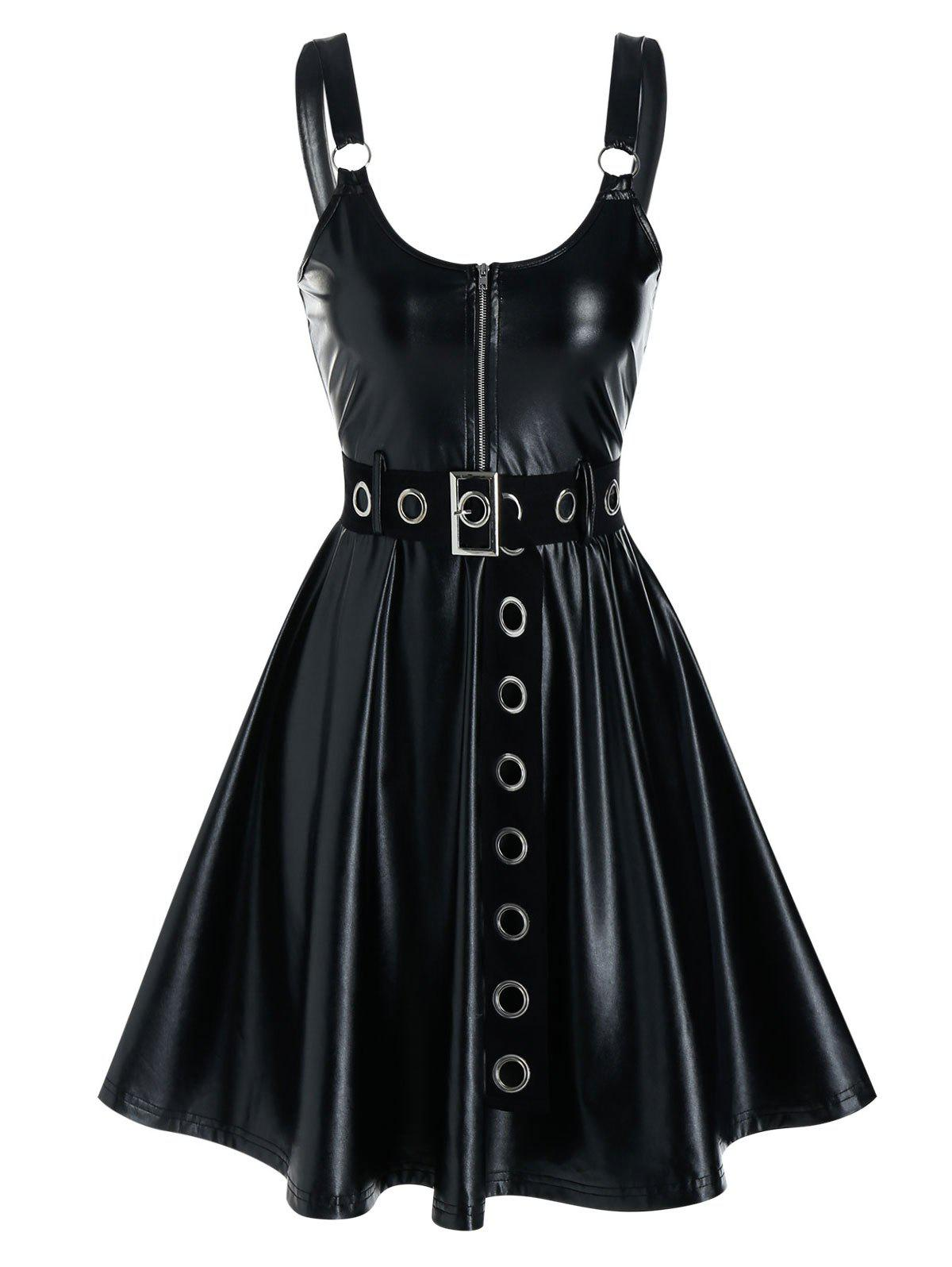 Sleeveless Grommet Belted Faux Leather Dress - BLACK L