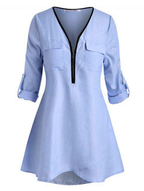 Plus Size Half Zip Roll Up Sleeve High Low Blouse