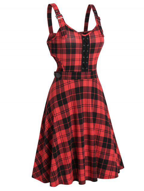 Checkered Print Lace-up Cut Out Dress