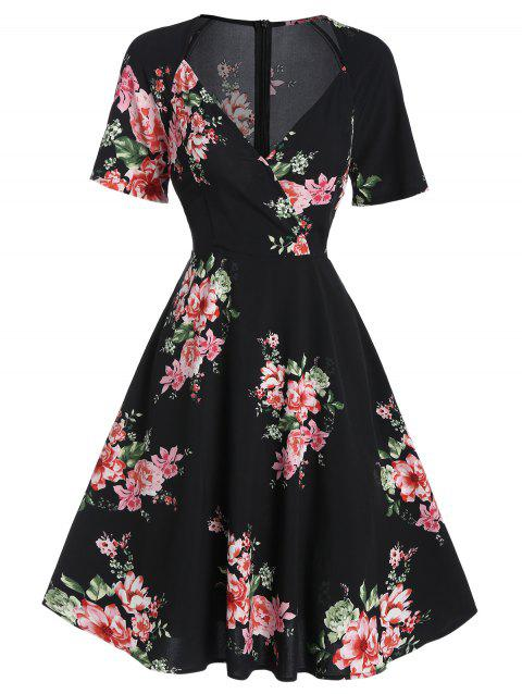 Floral Print Sweetheart Neck Mini A Line Dress