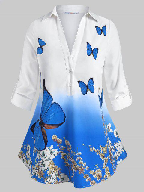 Floral Butterfly Button Front Tab Sleeve Plus Size Shirt
