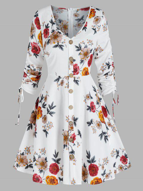 Floral Print Cinched Mock Button Dress
