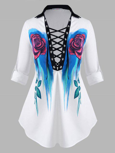 Lace Up Floral Tab Sleeve Plus Size Shirt