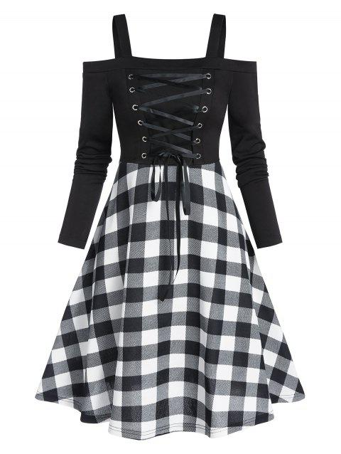 Plaid Print Lace Up High Waist Mini Dress