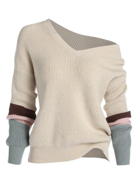Plus Size Skew Collar Patchwork Knit Sweater