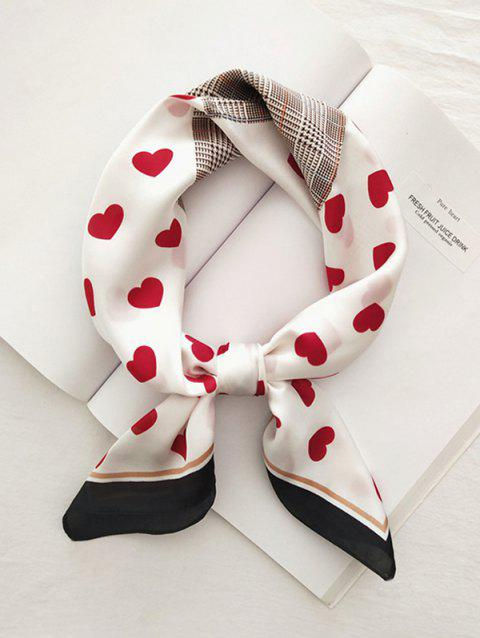 Heart Plaid Houndstooth Printed Satin Square Scarf