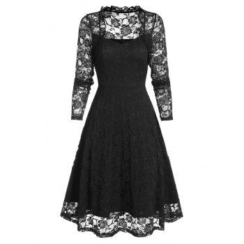 Floral Lace Ruffle Queen Anne Collar Dress